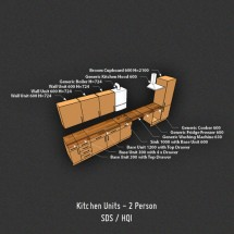 UK Kitchen - 724mm Wall Units - 15mm Board, SDS/HQI 2 Person