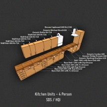 UK Kitchen - 724mm Wall Units - 15mm Board, SDS/HQI 4 Person