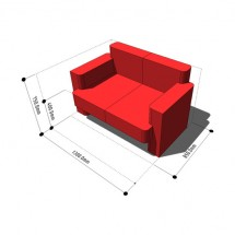 UK SDS/HQI Furniture - Living Room Settee 2 Seat 850x1300